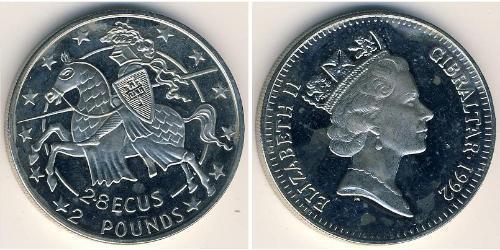 2 Pound / 2.8 Ecu Gibraltar Kupfer/Nickel Elizabeth II (1926-)