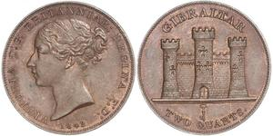 2 Quarto Gibraltar Kupfer Victoria (1819 - 1901)