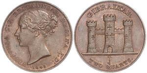 2 Quarto Gibilterra Rame Vittoria (1819 - 1901)