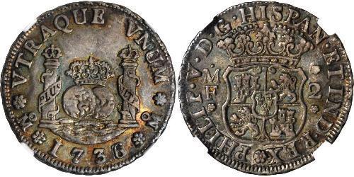 2 Real Vicereame della Nuova Spagna (1519 - 1821) Argento Filippo V di Spagna (1683-1746)