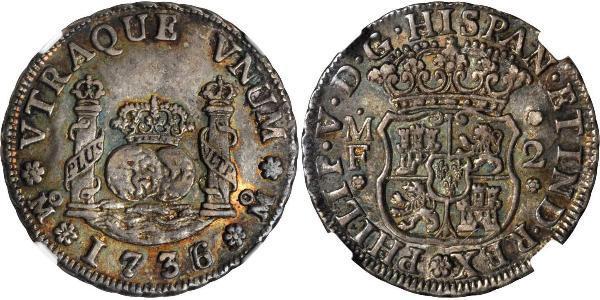 2 Real Vizekönigreich Neuspanien (1519 - 1821) Silber Philip V von Spanien (1683-1746)
