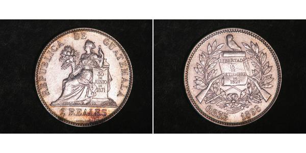 2 Real Republic of Guatemala (1838 - ) Silver