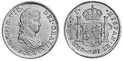 2 Real Spanish Mexico  / Kingdom of New Spain (1519 - 1821) Silver Ferdinand VII of Spain (1784-1833)