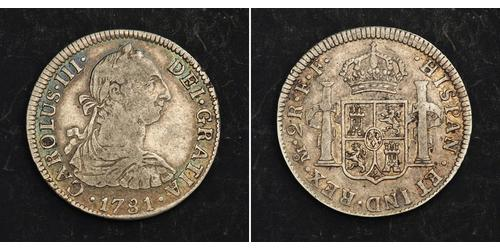 2 Real Spanish Mexico  / Kingdom of New Spain (1519 - 1821) Silver Charles III of Spain (1716 -1788)