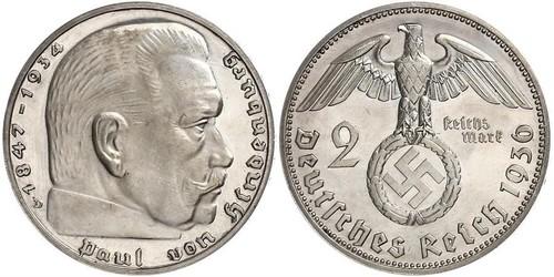 2 Reichsmark 納粹德國 (1933 - 1945) 銀 保罗·冯·兴登堡 (1847 - 1934)