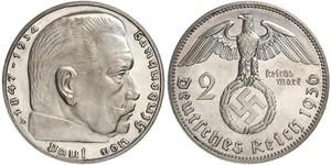 2 Reichsmark Troisième Reich (1933-1945) Argent Paul von Hindenburg