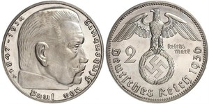 2 Reichsmark Germania nazista (1933-1945) Argento Paul von Hindenburg