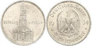 2 Reichsmark Alemania nazi (1933-1945) Plata