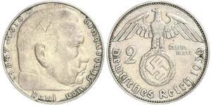 2 Reichsmark Alemania nazi (1933-1945) Plata Paul von Hindenburg