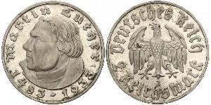 2 Reichsmark Alemania nazi (1933-1945) Plata Martín Lutero
