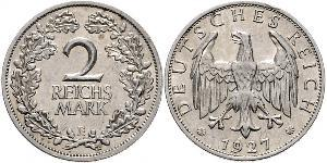 2 Reichsmark República de Weimar (1918-1933) Plata