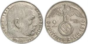 2 Reichsmark Deutsches Reich (1933-1945) Silber Paul von Hindenburg