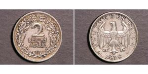 2 Reichsmark Weimarer Republik (1918-1933) Silber