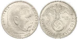 2 Reichsmark Nazi Germany (1933-1945) Silver Paul von Hindenburg