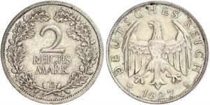 2 Reichsmark Weimar Republic (1918-1933) Silver