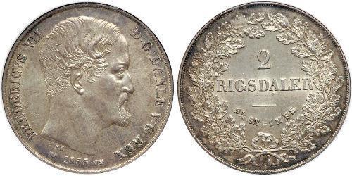 2 Rigisdaler Dinamarca Plata Federico VII de Dinamarca (1808-1863)