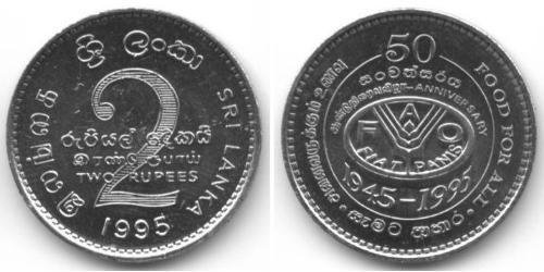 2 Rupee Sri Lanka Kupfer/Nickel