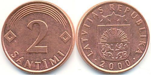 2 Santims Latvia (1991 - ) Steel/Copper