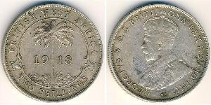 2 Shilling British West Africa (1780 - 1960) 銀 乔治五世  (1865-1936)