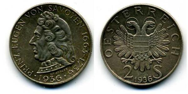 2 Shilling Federal State of Austria (1934-1938) 銀