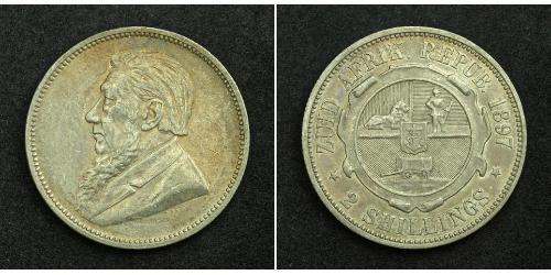 2 Shilling South Africa 銀 保罗·克留格尔 (1825 - 1904)