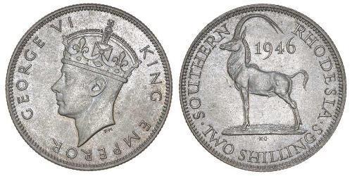 2 Shilling Southern Rhodesia (1923-1980) Níquel/Cobre Jorge VI (1895-1952)