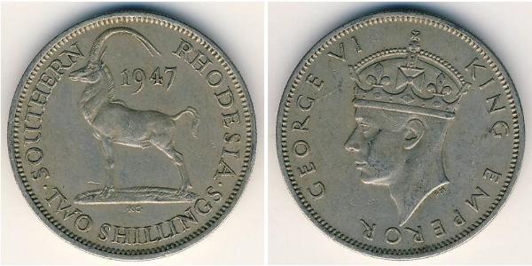 2 Shilling Southern Rhodesia (1923-1980) Rame/Nichel Giorgio VI (1895-1952)