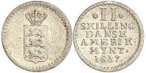 2 Skilling Danemark Argent Frédéric VI de Danemark (1768 -1839)