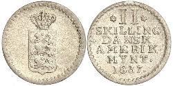2 Skilling Dinamarca Plata Federico VI de Dinamarca (1768 -1839)