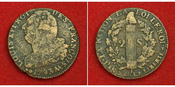 2 Sol Kingdom of France (843-1791) Bronze Louis XVI of France (1754 - 1793)