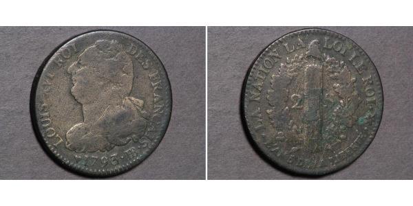 2 Sol Kingdom of France (843-1791) Bronze Louis XVI of France (1754 - 1793)
