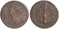 2 Sol Francia medioevale (843-1791) Bronzo Luigi XVI di Francia (1754 - 1793)