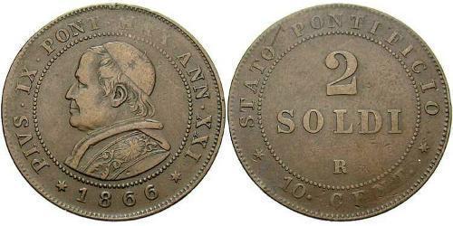 2 Soldo Vatican (1926-) Copper Pope Pius IX (1792- 1878)