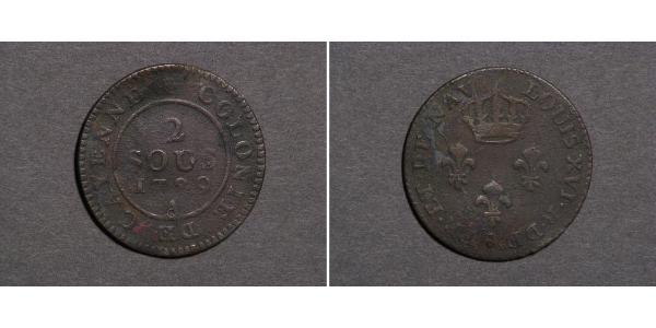 2 Sou French Guiana Copper Louis XVI of France (1754 - 1793)