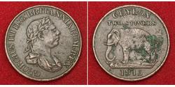 2 Stiver Sri Lanka/Ceylon / United Kingdom of Great Britain and Ireland (1801-1922) Copper George III (1738-1820)