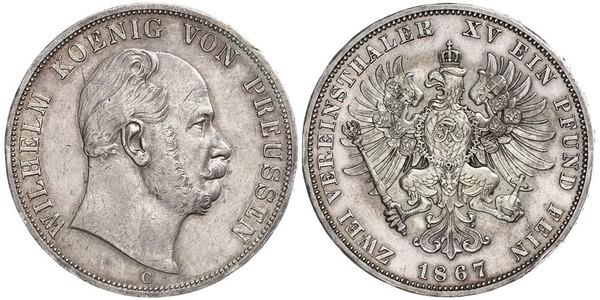 2 Thaler 普魯士王國 (1701 - 1918) 銀 威廉一世 (德国)
