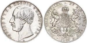 2 Thaler 汉诺威王国 (1814 - 1866) 銀 格奥尔格五世 (汉诺威) (1819 - 1878)