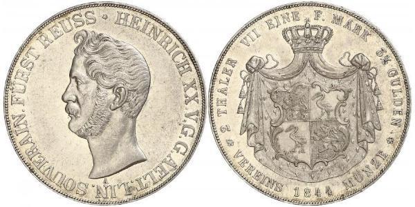 2 Thaler Principality of Reuss-Greiz (1778 - 1918) 銀 亨利二十世 (羅伊斯-格賴茨)