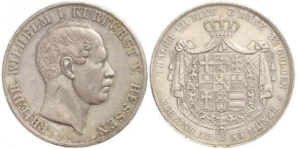 2 Thaler Grand-duché de Hesse (1806 - 1918) Argent Frédéric-Guillaume Ier de Hesse (1802 - 1875)