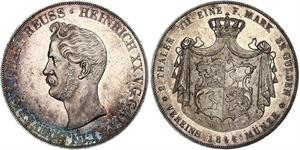 2 Thaler Principauté Reuss branche aînée (1778 - 1918) Argent Henri XX de Reuss-Greiz