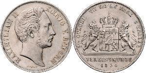 2 Thaler Royaume de Bavière (1806 - 1918) Argent Maximilien II de Bavière(1811 - 1864)