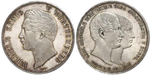 2 Thaler Royaume de Wurtemberg (1806-1918) Argent Guillaume Ier de Wurtemberg