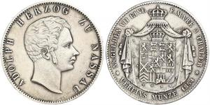 2 Thaler Nassau (stato) (1806 - 1866) Argento Adolfo di Lussemburgo