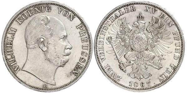 2 Thaler Regno di Prussia (1701-1918) Argento Wilhelm I, German Emperor (1797-1888)