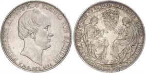2 Thaler Regno di Sassonia (1806 - 1918) Argento Federico Augusto II di Sassonia