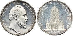 2 Thaler Regno di Württemberg (1806-1918) Argento Carlo di Württemberg