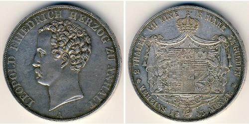 2 Thaler Anhalt (1806 - 1918) Plata Leopoldo IV de Anhalt (1794 – 1871)