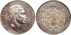 2 Thaler Anhalt-Bernburg (1603 - 1863) Plata Alexander Karl, Duke of Anhalt-Bernburg (1805 – 1863)