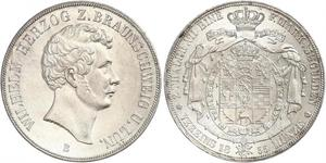 2 Thaler Ducado de Brunswick (1815 - 1918) Plata Guillermo de Brunswick
