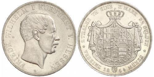 2 Thaler Hesse-Darmstadt (1806 - 1918) Plata Federico Guillermo de Hesse-Kassel (1802 - 1875)